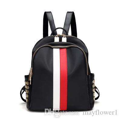 8b433b73011 Women Backpack Fashion School Bags Fashion School Bags Luxury Strap Striped  Famous Brand Zipper Backpacks Shoulder Soft Travel Lady Backpack School Bags  PU ...