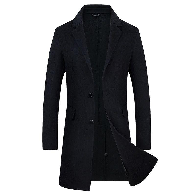 e63f9ceae3b 2019 2018 Fashion Autumn Men Black Woolen Coat Winter Long Slim Overcoat  Man Jacket Wind Mens Coats Overcoats Fashion Outerwear Tops From Hermanw