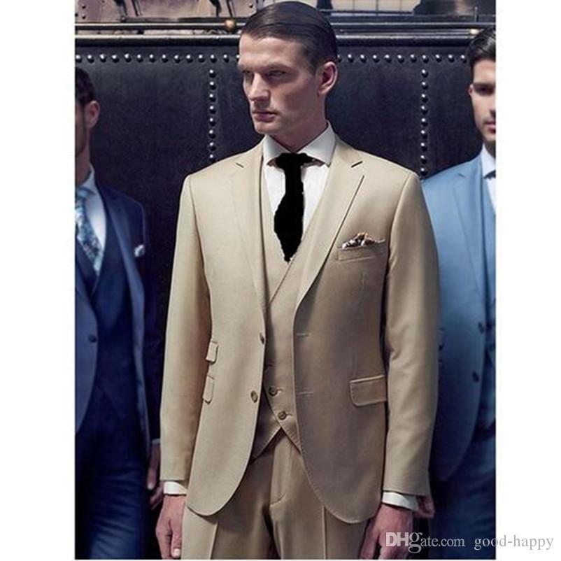 6c779396c9 Personalizza Design Beige Smoking da uomo Smoking Tacca Smoking smoking a  due bottoni Alta qualità da uomo / vestito Darty (giacca pantaloni cravatta  ...