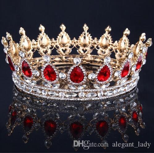 ترف خمر الذهب الزفاف تاج الزفاف العرسان تيارا الباروك الملكة الملك ولي الذهب لون حجر الراين تاج تاج