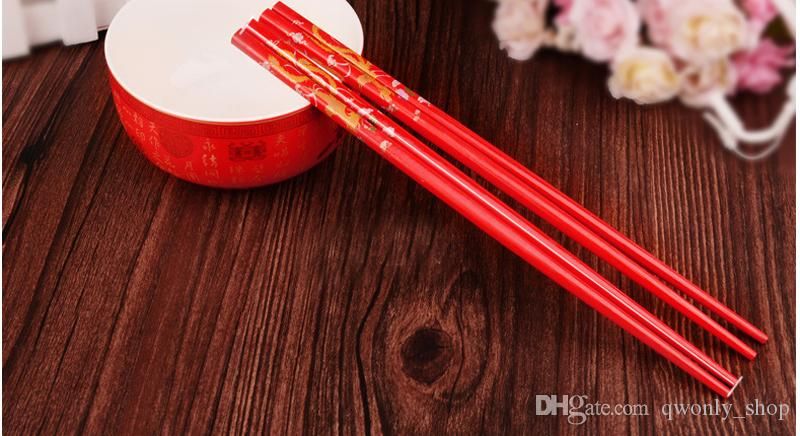 Classic Design Wood Chinese Red Chopsticks Double Happiness And Dragon Wedding Party Favor Chopsticks Favor With Gift Bag