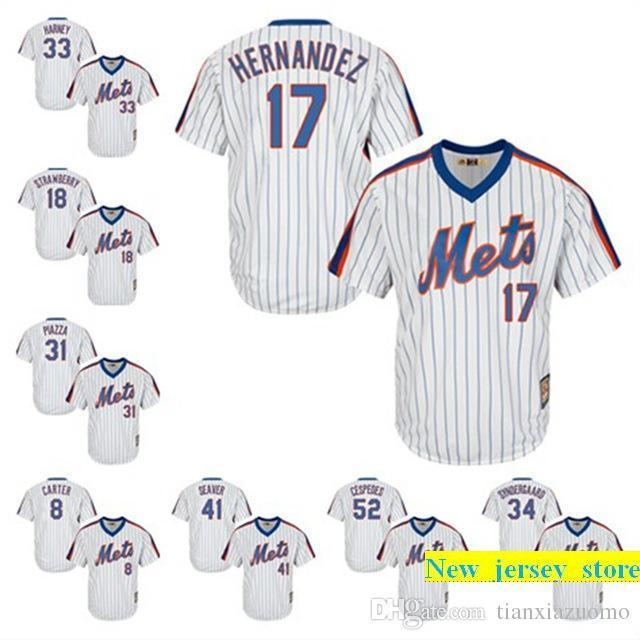 detailed look eb9df 783d1 2019 Mens New Yorks mets Noah syndergaad Mike Piazza Jacob deGrom Matt  Harveyersey Darryl Strawberry 100% stitched Baseball Jerseys