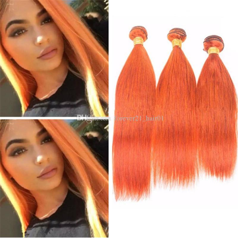 2018 8a Cheap Orange Human Hair Extensions Silky Straight Burnt