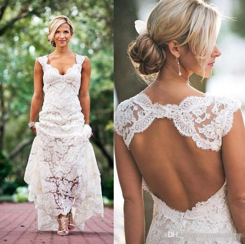 fe1693b2432 Chic Rustic Full Lace Wedding Dresses Cheap V Neck Open Back Sweep Train  Boho Garden Bridal Gown Custom Made Country Style New 2018