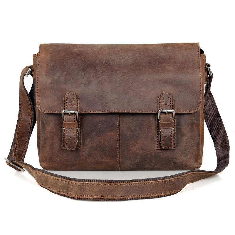 7c7018007863 Vintage Crazy Horse Leather Men Shoulder bag Genuine Leather Messenger Bag  men Crossbody Sling Leisure Casual Brown