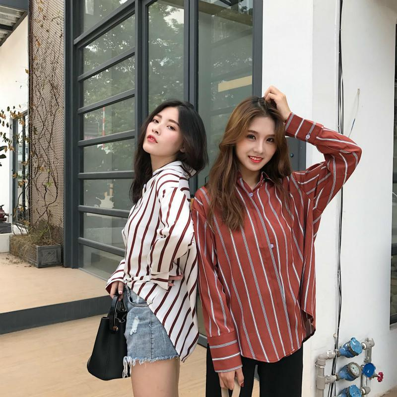 a02af3ec 2019 2018 Fashion Womens Blouses Spring Autumn Korean Harajuku Vintage  Striped Long Sleeve Women Casual Shirts Tops From Qinfeng05, $29.58 |  DHgate.Com