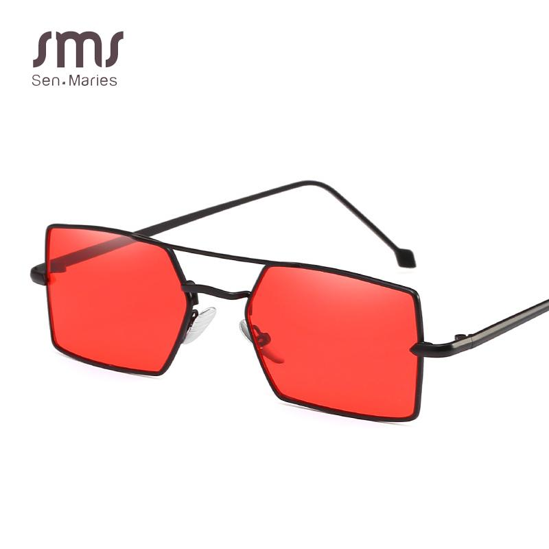 2018 Spring Summer Clear Square Occhiali da sole Donna Ladies Metal Frame Red Yellow Shades Lens Occhiali da sole Elegant Lady UV400