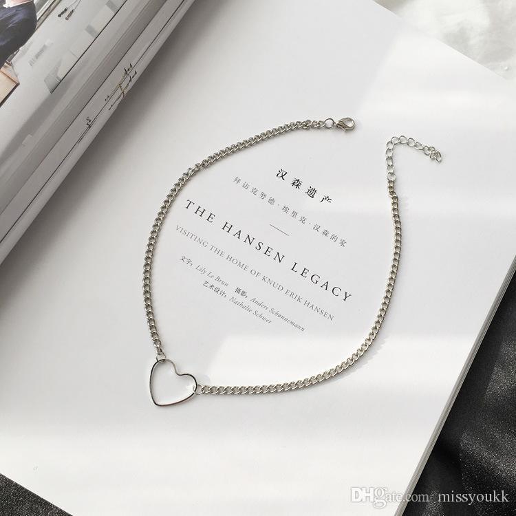 Coeur creux sexy coeur en forme de coeur collier court collier de chaîne de la clavicule femelle