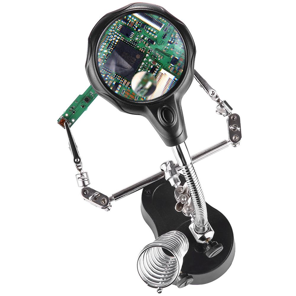 3.5x 12X thired Hand magnifier Soldering magnifying glass Alligator Clip Illuminated Jewelry Microscope Desk loupe with Light