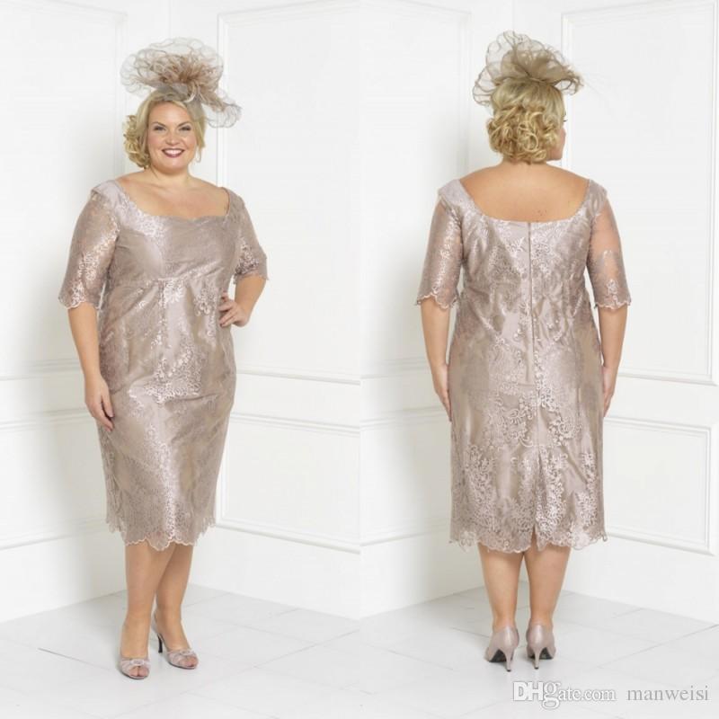 New Design Plus Size Mother Of The Bride Dresses Lace Appliqued Tea