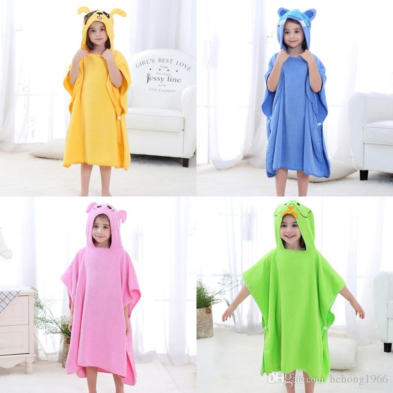 Cotton Kid Home Blanket Cartoon Elephant Bee Frog Cloak Warm Boys Girls Bathrobes Hooded Bath Towel 42 88ey hh