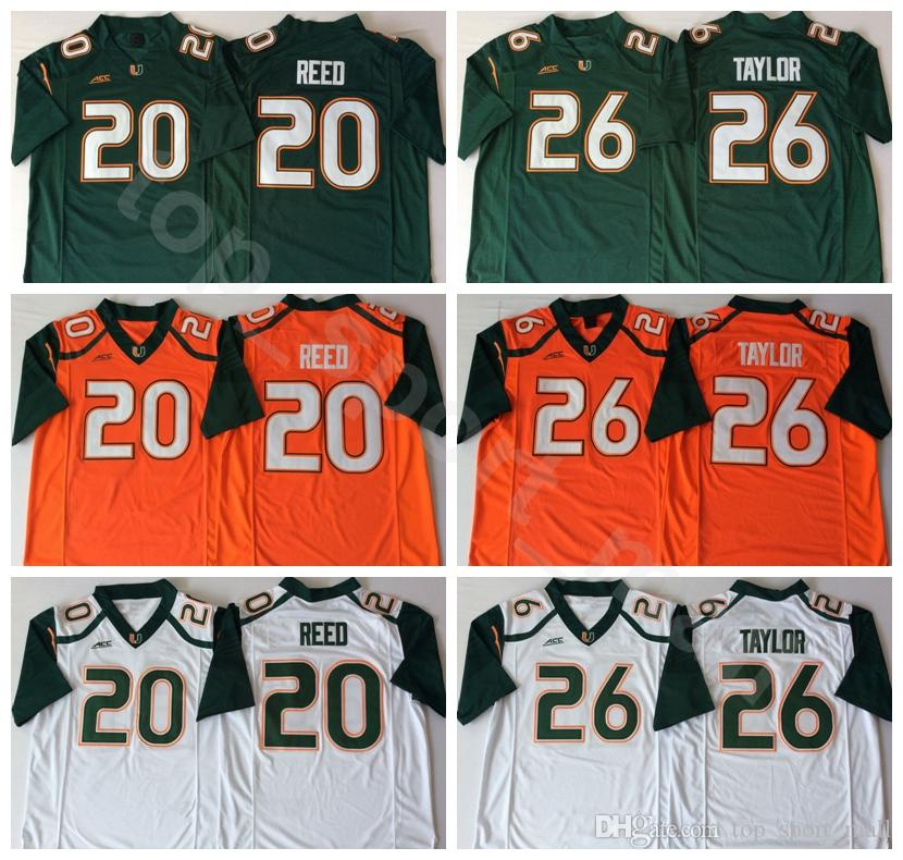 online store e69cb 60885 18 19 Miami Hurricanes College 26 Sean Taylor Jerseys Men Green Orange  White Football 20 Ed Reed Jersey University Breathable High Quality