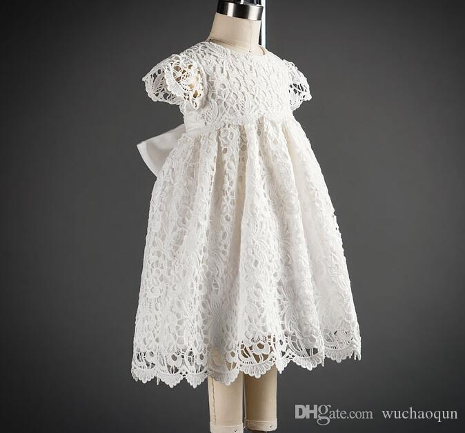 2018 baby girl baptism gown christening dress Girls Dresses lace white baby Princess Dresses Newborn wedding dress baby girl clothes