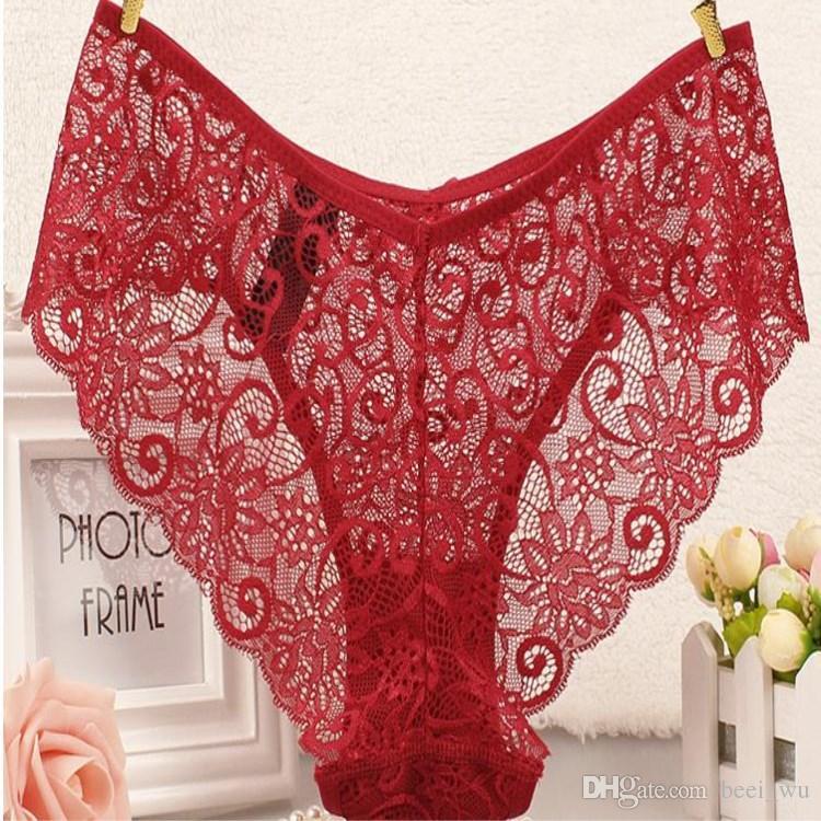 10 STÜCKE Großhandel Sexy Womens Unterwäsche Spitze Niedrige Taille Transparent Einfarbig Spaß Unterwäsche Dame S-XL Größe