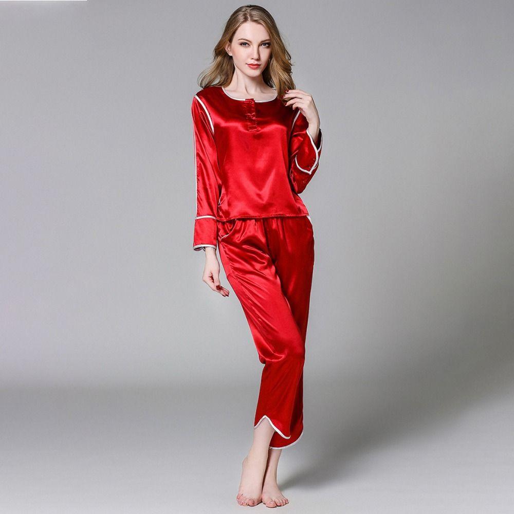 45cfd1ee7 Compre Pijamas De Satén De Seda Para Mujer Pijamas Conjunto De Manga Larga  Ropa De Dormir Pijama Pijamas Traje De Sueño Femenino De Dos Piezas Set ...