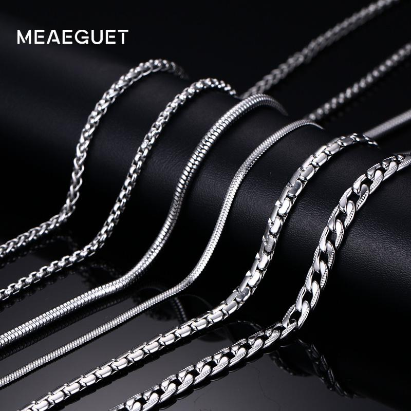 Meaeguet Trendy 20inch Silver Color Stainless Steel Link Chain Necklace For Men Snake/Box/Hanging/Curb/Flat/Twist Chain