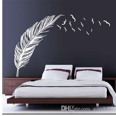 8408 07 Left Right Flying Feather Wall Stickers Home Decor Adesivo