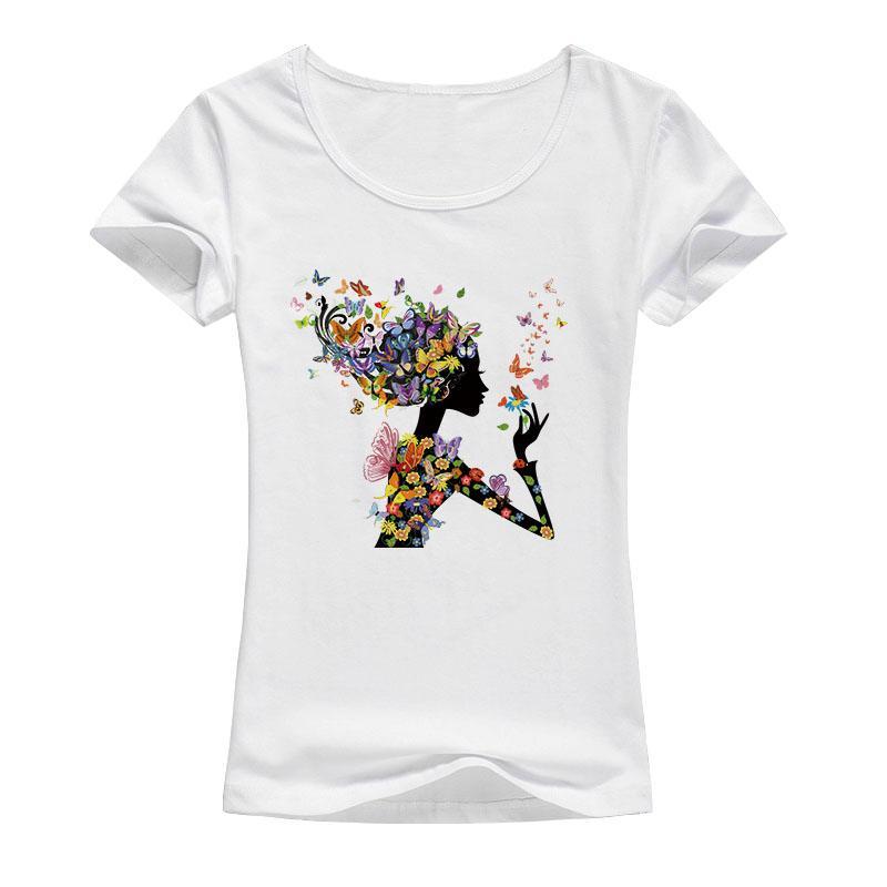 2018 new beautiful flowers butterfly girls T-shirt women s fashion creative  Harajuku printing T-shirt cool casual kawaii shirt