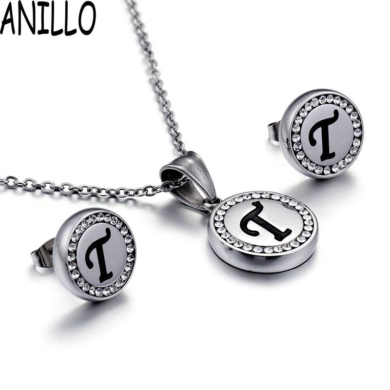 2018 anillo women english letter t necklaceearrings fashion eternal love cz pendant stainless steel jewelry set from lbdwatches 4261 dhgatecom