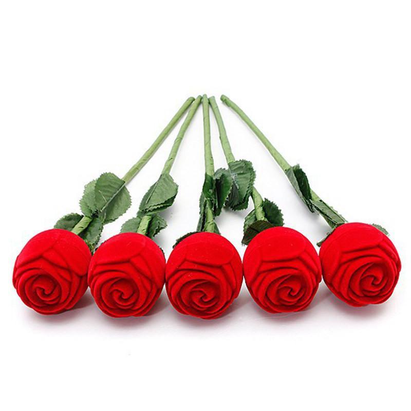 Acheter Rose Boite Cadeau Charm Rose Rouge Fleur Anneau Boite Partie