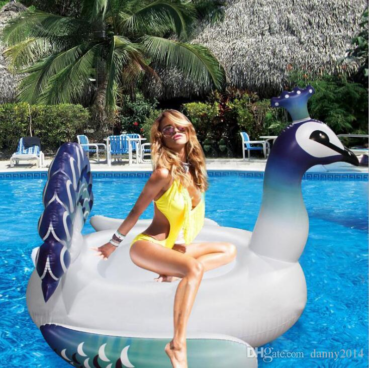 200cm floating peacock mattress inflatable peacock swim ring floats leisure floating chair swan seat ring swim pool beach colorful toy