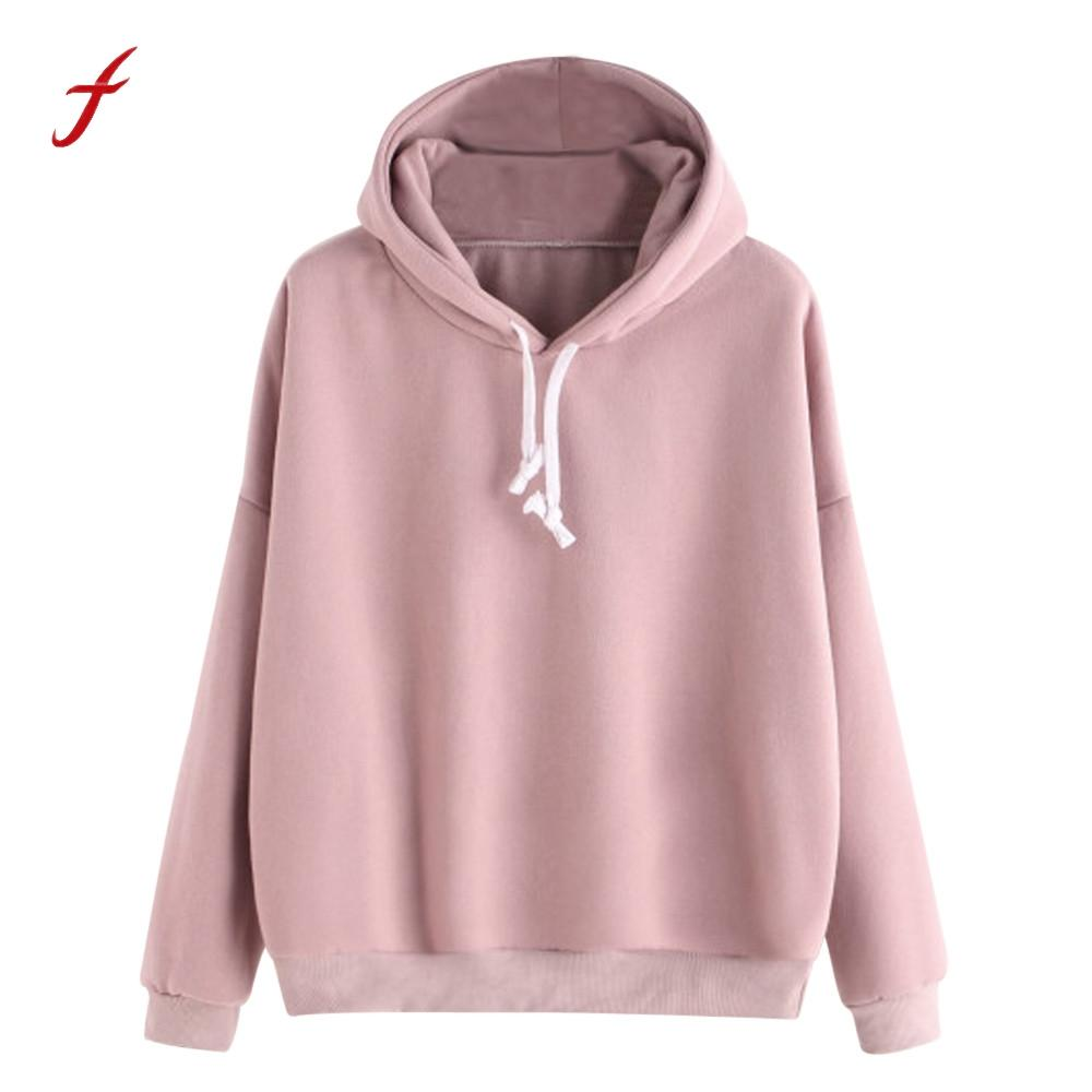 8e74d895 winter sweatshirts for women 2017 Pink women's gown with a hood hoodies  Ladies Solid Long Sleeve Casual Hooded harajuku clothes