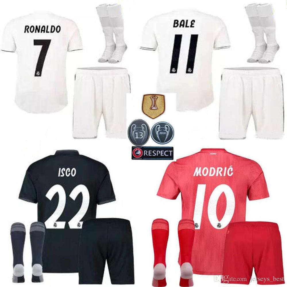 088e2e44bcd 18 19 Real Madrid Men Kit Soccer Jersey Third Blue Adult Kit with ...