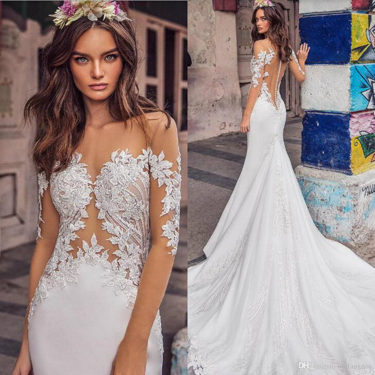 080f06745a 2019 Fashion Mermaid Wedding Dress Sheer Neck Long Sleeves Lace Appliqued Bridal  Gowns Buttons Back Sexy Beach Wedding Dresses Lace Wedding Gowns Long ...