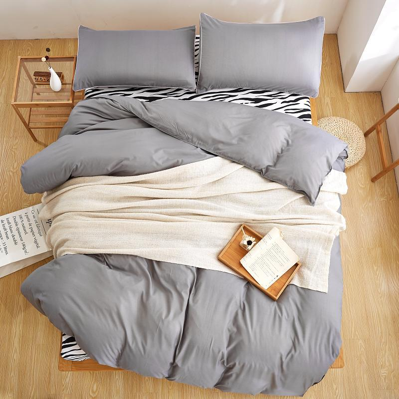 Latest Double Color Zebra Grey Silver Colors Duvet Cover Set Flat Sheet  Pillowcase 3/Bedding Sets King Queen Full Twin Extra Long Twin Bedding  Duvet Sets ...