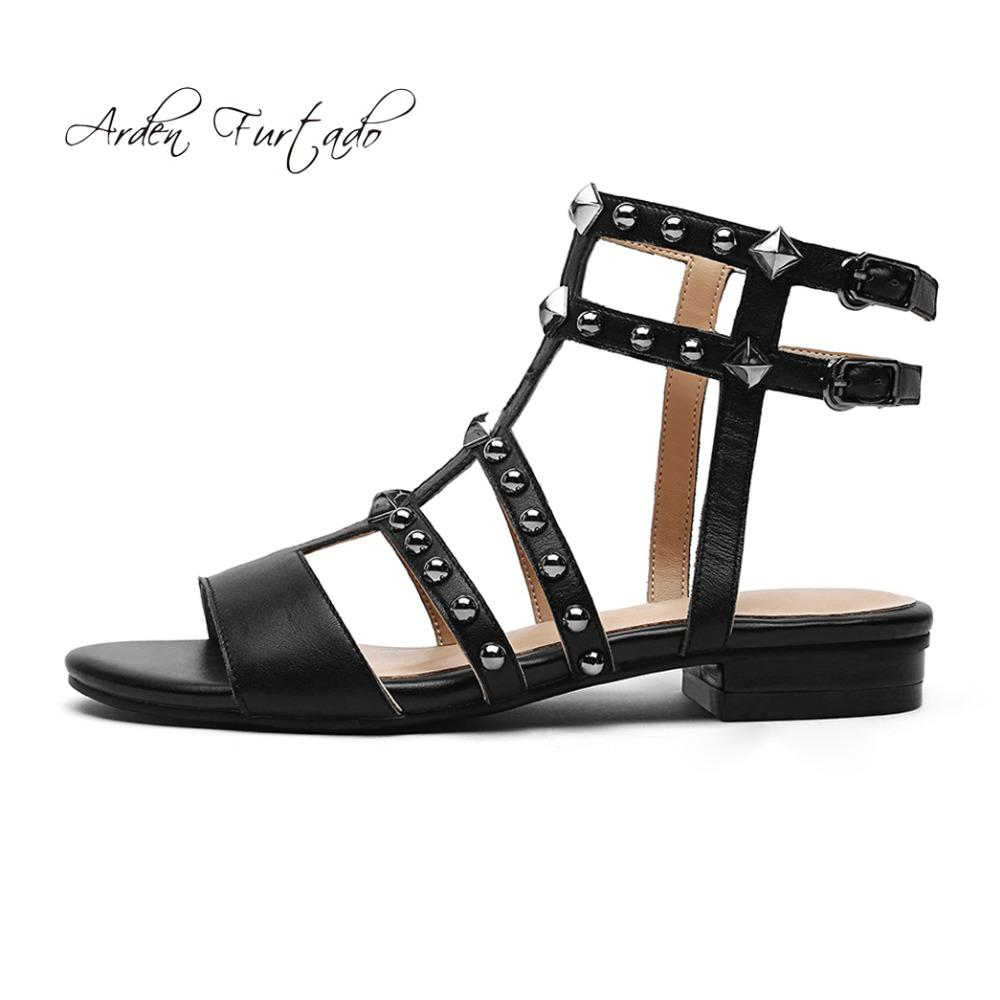 Arden Furtado 2018 Summer Flat Genuine Leather Open Toe T-strap ... 57f6120302e5