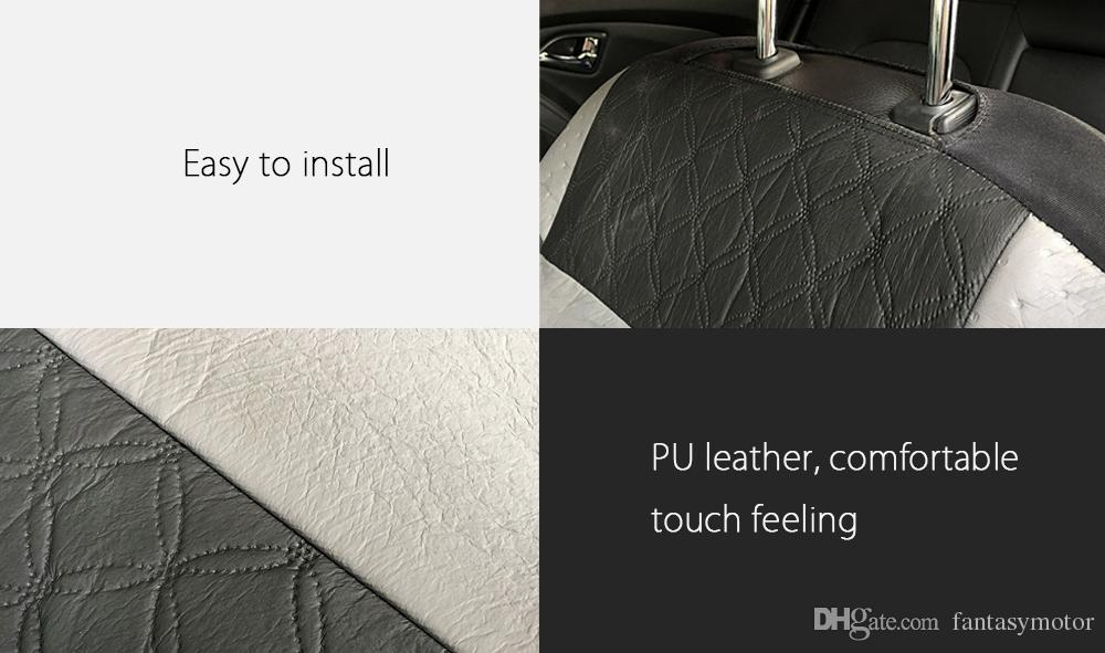 Tirol Universal PU Leather Car Seat Cover Interior Protector Auto Headrest Front Seat Covers with Special Lumber Pad