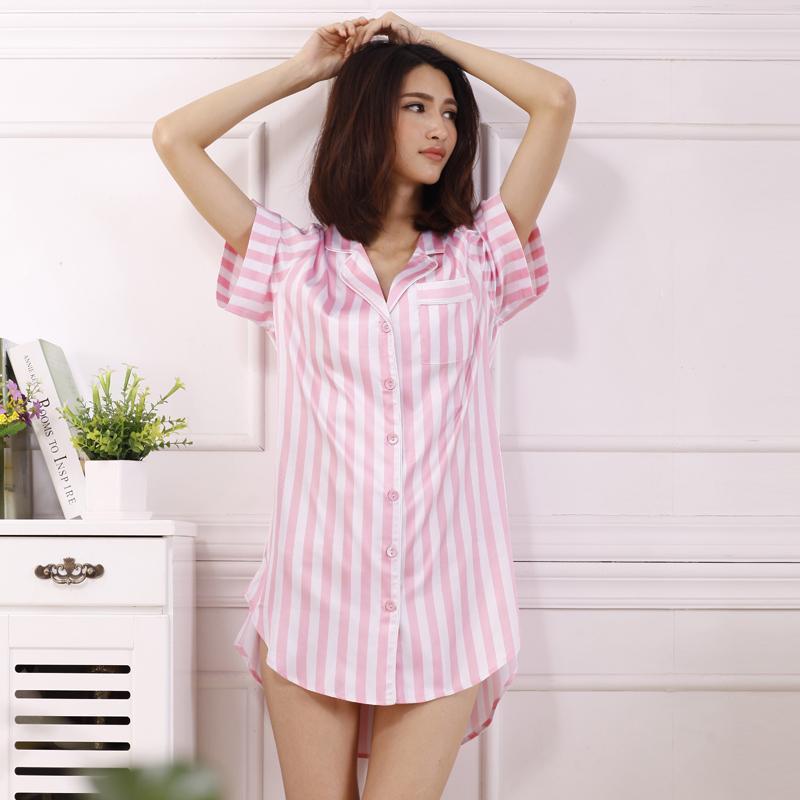 4a5c6fc426 Camisa de dormir de verano para mujer Camisa de dormir de satén sexy para  mujer Camisas de dormir de color rosa Camisones de dormir