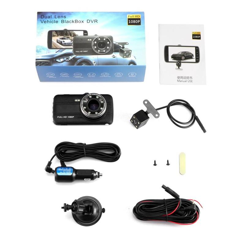 1080P full HD car DVR windshield digital dashcam 2Ch driving video recorder 4 inch 170 degrees WDR night vision G-sensor parking monitor