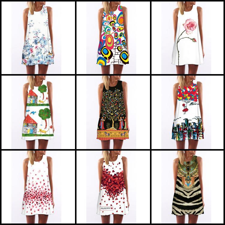 1664748d4 New 3D Pattern Summer Dresses for Women Digital Printing Prom ...