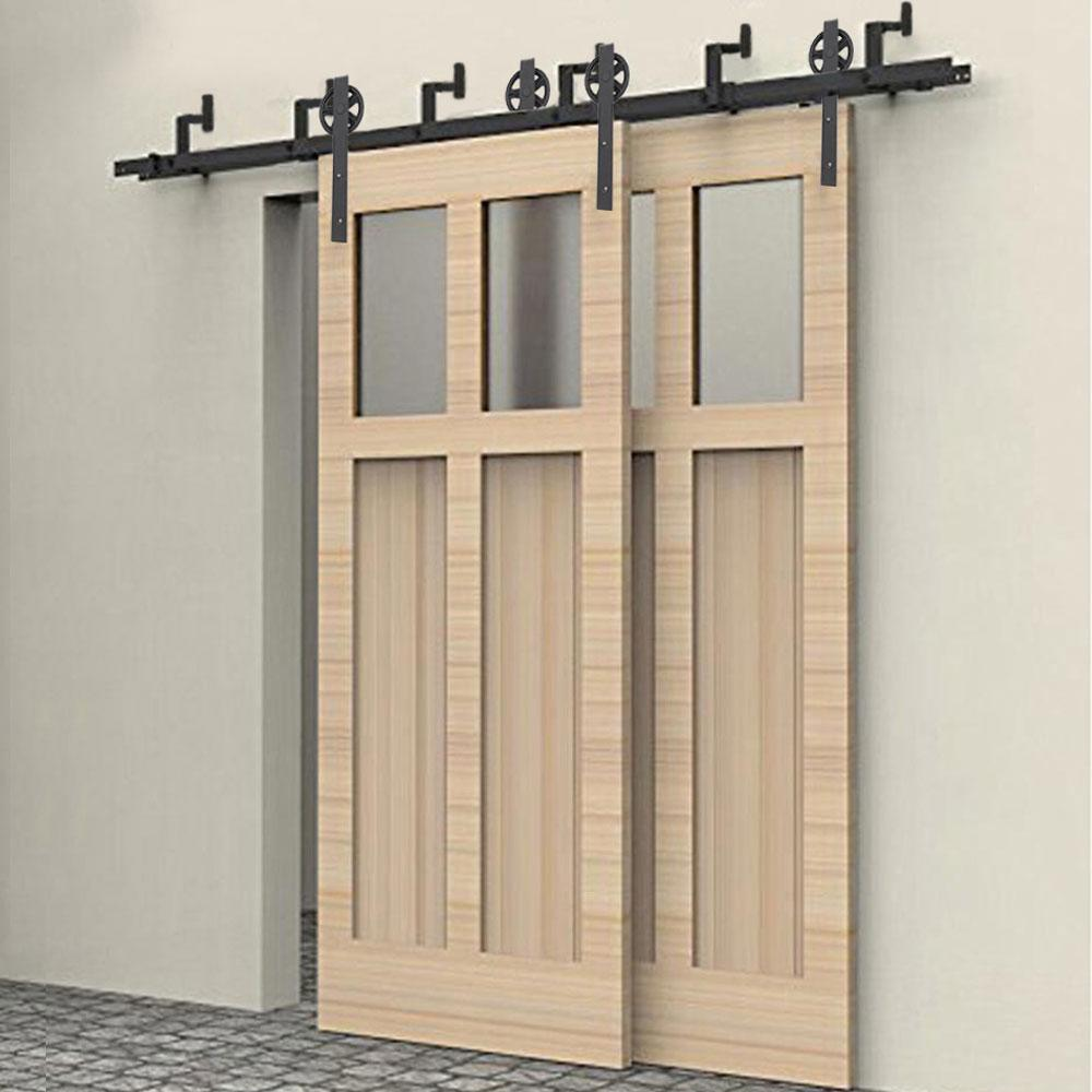 2018 Bypass Big Spoke Wheel Sliding Barn Door Track Hardware Double Door  Sliding Barn Door Hardware Track Kit From Att_hardware, $261.31 | Dhgate.Com