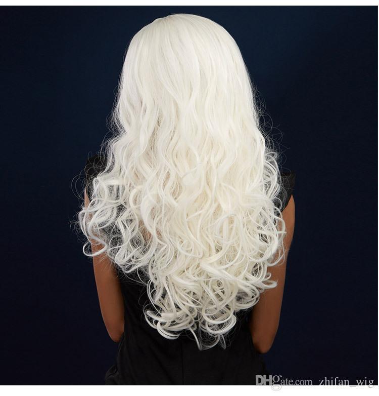 ZF Beyaz Peruk Ucuz 26 inç Bej Beyaz Peruk Cadılar Bayramı Cosplay Kostüm Moda Siyah Kadınlar Için Lady