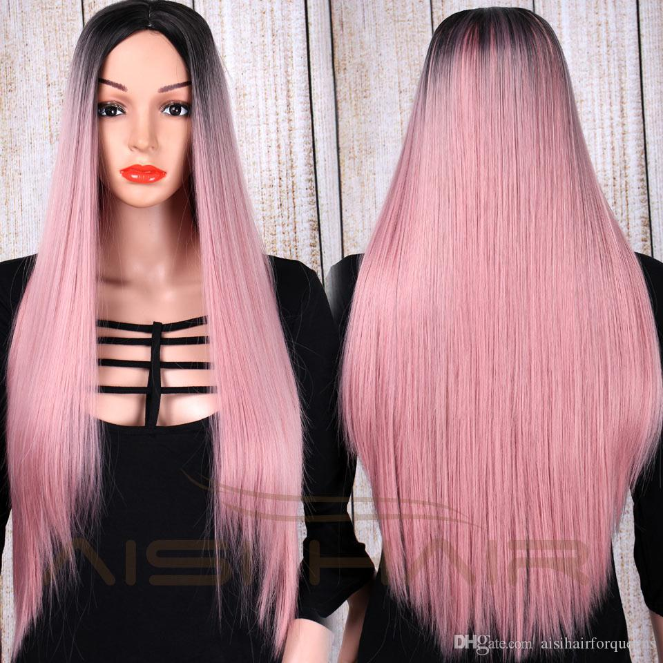 AISI HAIR Long Straight Hair Ombre Wine Red Wigs for Woman Long Dark Root Wig Middle Part Synthetic Fiber Wig