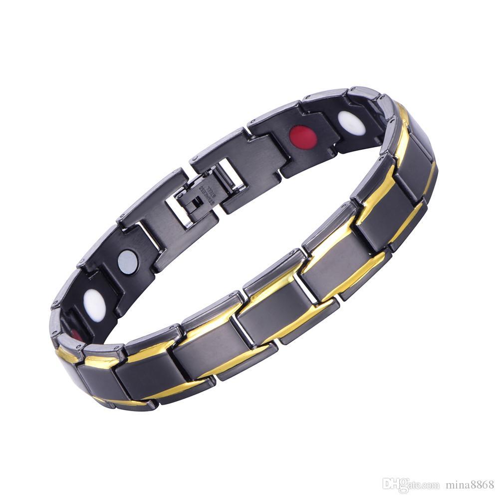 Bracciale da uomo Rame nero MAGNET Bracciali sportivi Elegante cinturino REGOLABILE con bracciali a catena magnetica anti-fatica a maglia