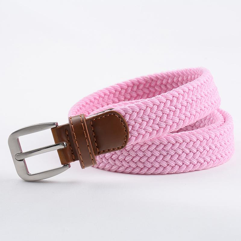 women 3.3cm width golf rubber polyester stretch woven high elastic unisex women belt with heavy buckle