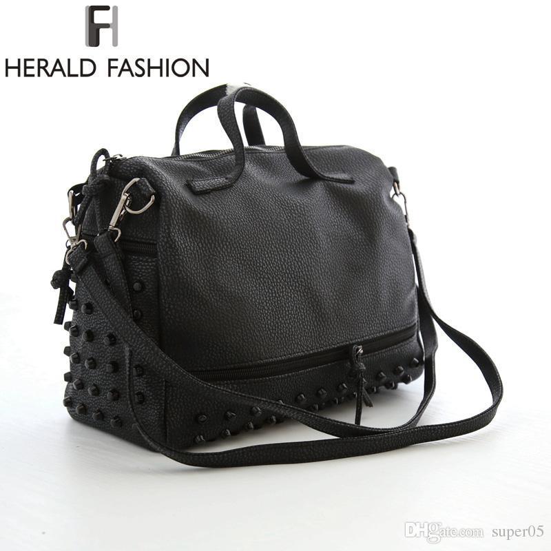 71955d098d2 Herald Fashion Designer Women Leather Handbags Large Black Shoulder Bags  Rivet Ladies Tote Bags Motorcycle Bag Bolsa Feminina Camo Purses Cross Body  Purse ...