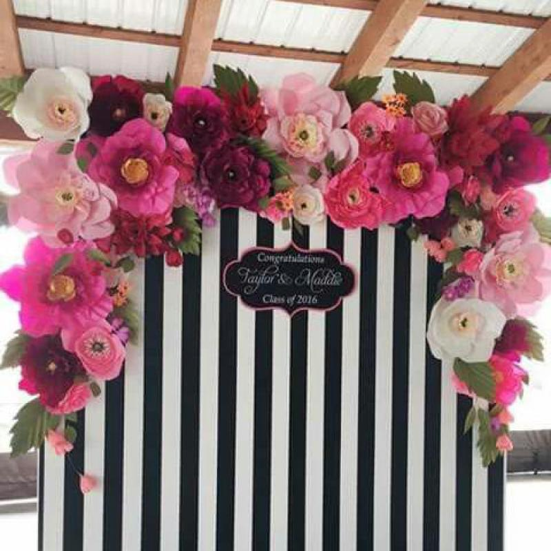 2018 Customized 74pcs Giant Cardstock Crepe Paper Flowers 32pcs Leaves For Wedding Event Backdrop Decor Windows Display