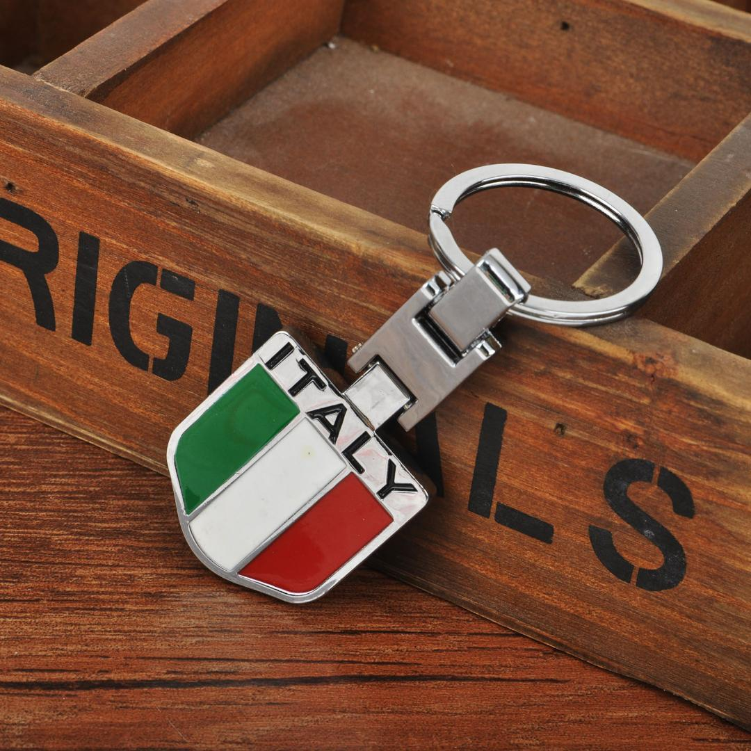 55799eaf5 Compre Novo Anel Chave Do Carro De Metal Italiano Itália Bandeira Chaveiro  Keyfob Acessórios Car Styling Decoração De Interiores De Nqingfeng