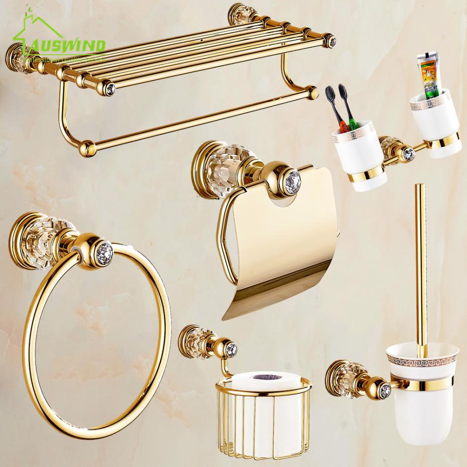 2018 Solid Brass Crystal Bathroom Accessories Set Polish Finish Gold ...