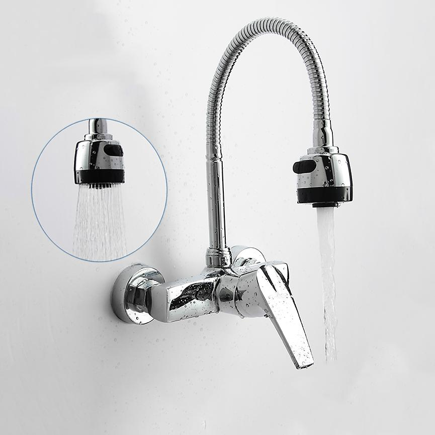 Wall Mounted Double Holes Flexible Kitchen Faucet Mixers Sink Tap Wall  Kitchen Faucet Hot And Cold Water TP30 Flexible Kitchen Faucet Kitchen  Faucet Wall ...