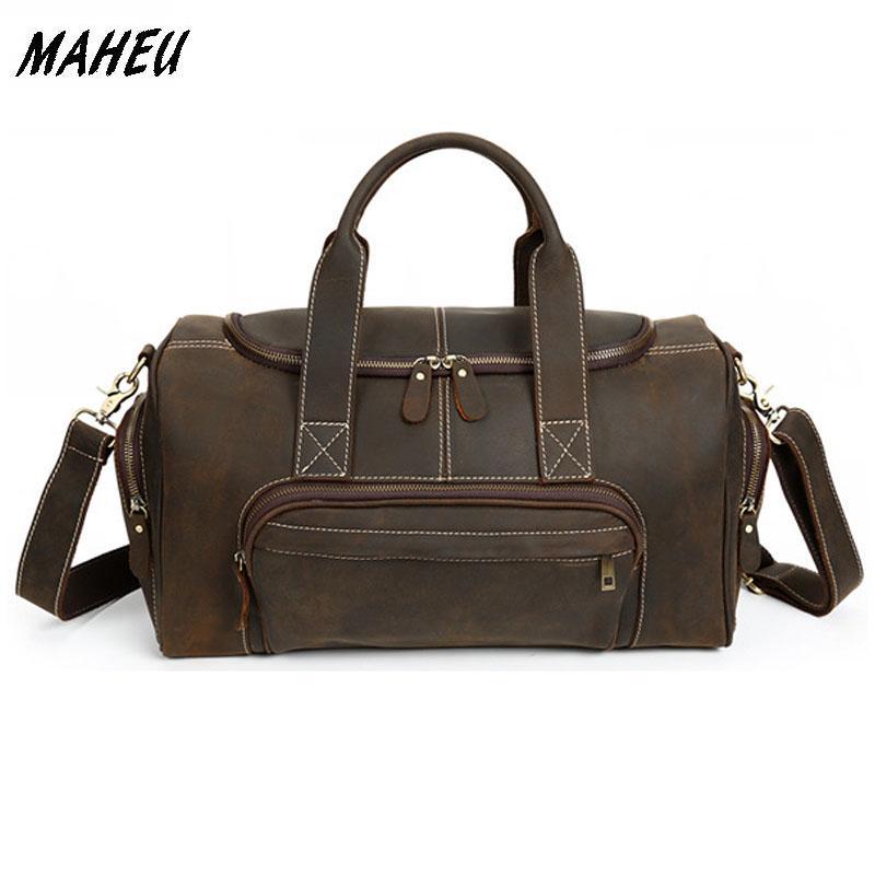 Men Vintage Genuine Leather Travel Bag Red Zip Around Brown Real Leather  Travel Duffle Business Tote Bag Cowhide Boston Kids Rolling Suitcases  Waterproof ... c9eaf957aeaa4
