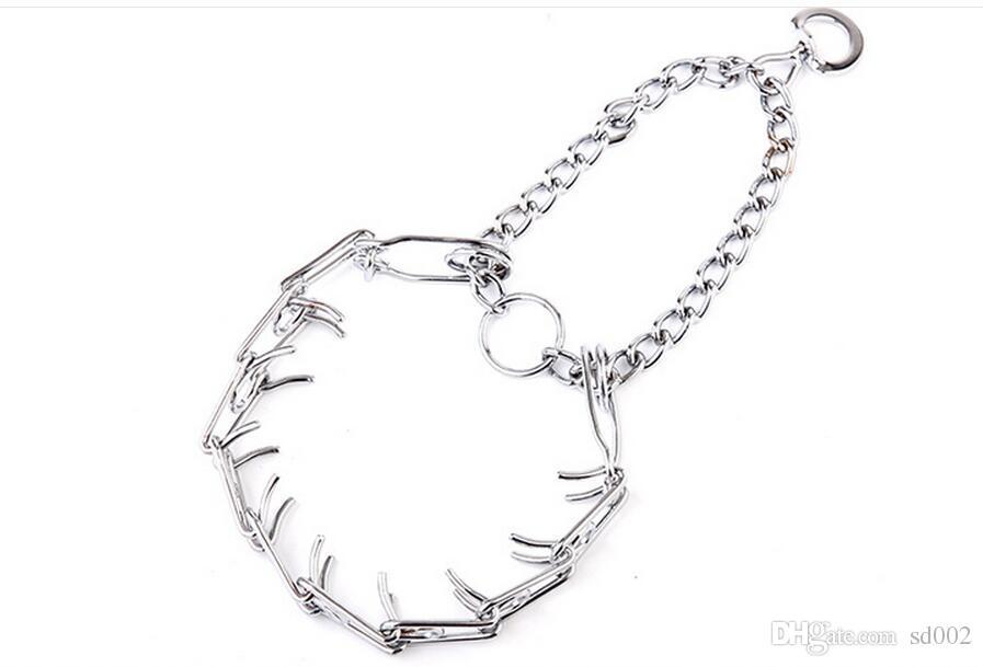 Neue Hunde Halskette Silbrig Schutzjacke Metallschnalle Einstellbare Feste Kette für Training Halten Walking Dog Halsbänder 9 2rx4 Y