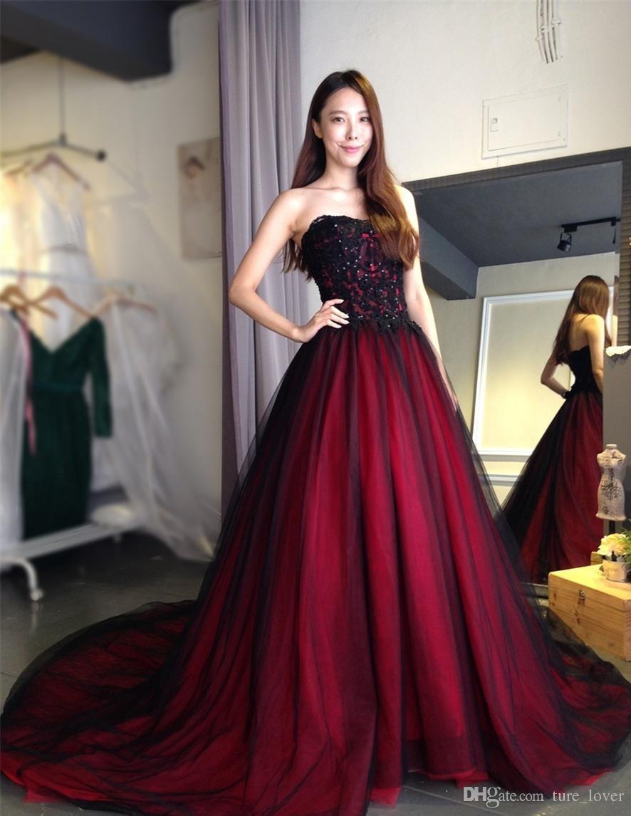 Gothic A Linha de Vestidos de Casamento Querida Lace Up Back Longo Comprimento Preto Borgonha robe de soirée vestido longo de festa Vestidos de Noiva