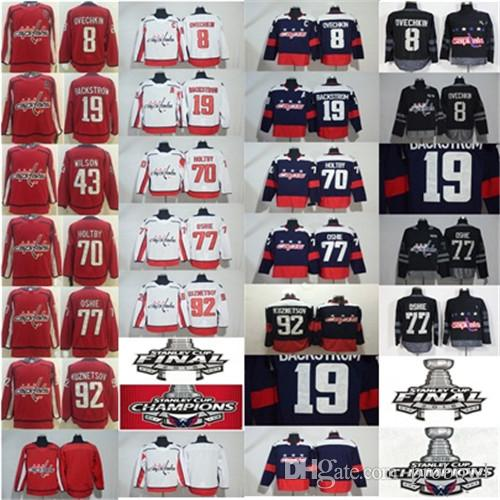 5addf1e94 2019 2018 Stanley Cup Final Champion Washington Capitals 8 Alex Ovechkin  T.J. Oshie Nicklas Backstrom 43 Wilson Holtby 92 Kuznetsov Hockey Jersey  From ...