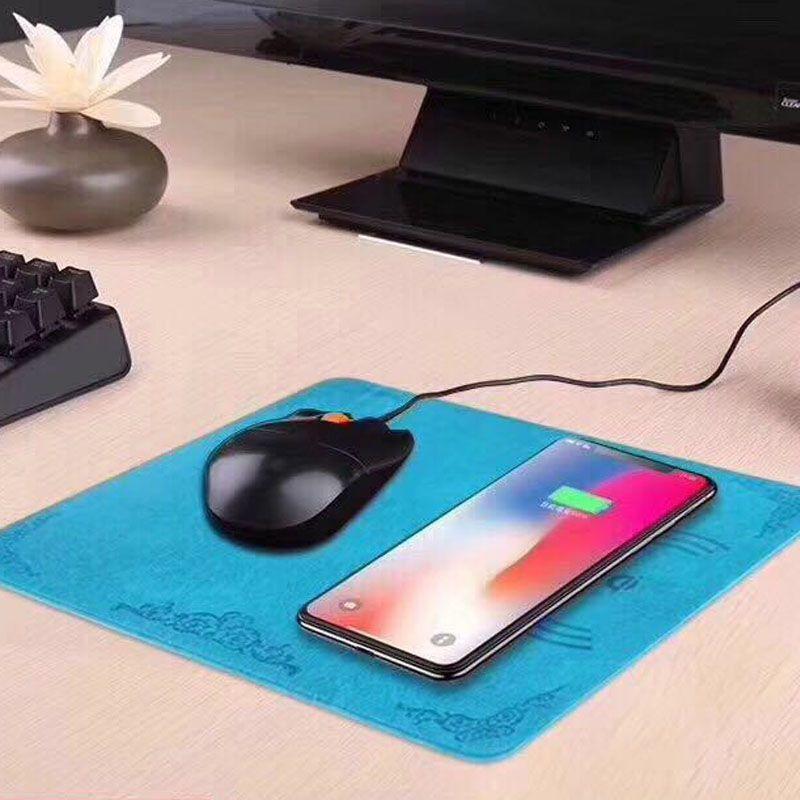 QI Cargador inalámbrico Super fino Cargadores de teléfonos móviles inalámbricos Grosor Cargador de mouse inalámbrico para iPhone X OTH808