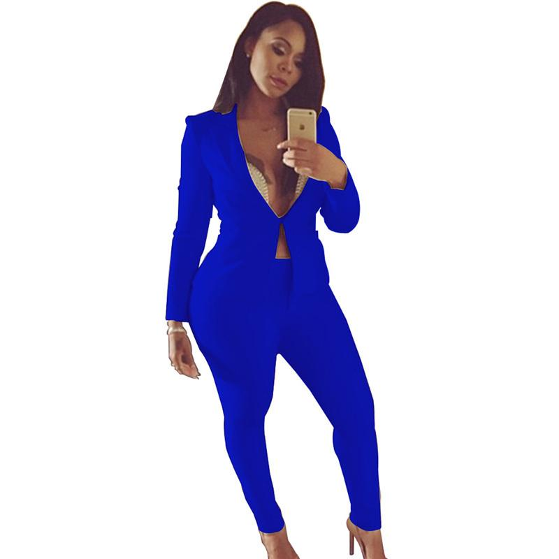 Acquista 2018 Sexy Giacca Con Scollo A V + Tuta Lunga Con Pantalone Lungo 2  Due Pezzi Pant Set Manica Lunga Primavera Blu Bianco Nero Aderente Slim Set  ... e55ae00c1c3